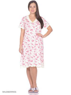 Ночная сорочка HomeLike. Цвет: молочный, розовый