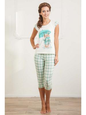 Пижама CLEO. Цвет: зеленый, белый