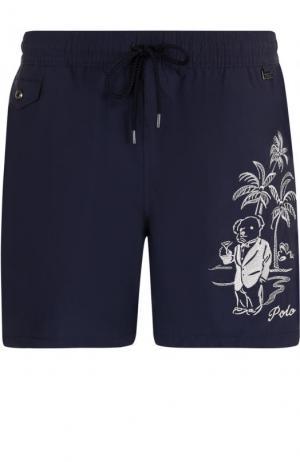 Плавки-шорты с вышивкой Polo Ralph Lauren. Цвет: темно-синий
