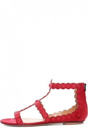 Замшевые сандалии с задником на молнии Alaia. Цвет: красный
