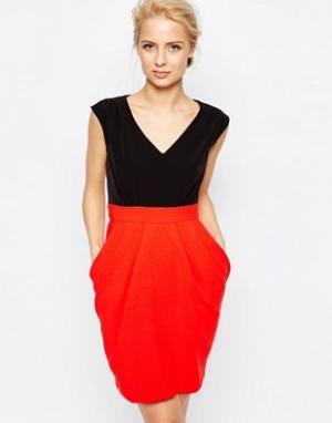 Closet London Платье 2-в-1 с контрастной юбкой. Цвет: красный