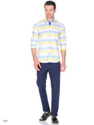 Рубашка Venturo. Цвет: голубой, белый, светло-желтый