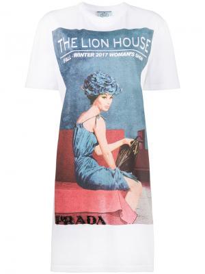 Длинная футболка с принтом Lion House Prada. Цвет: белый