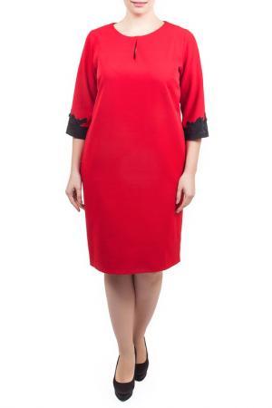 Свободное платье с вырезом Капелька Piena. Цвет: красный, полиэстер
