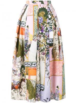 Поплиновая юбка Elena Bebek Taksim Erdem. Цвет: многоцветный