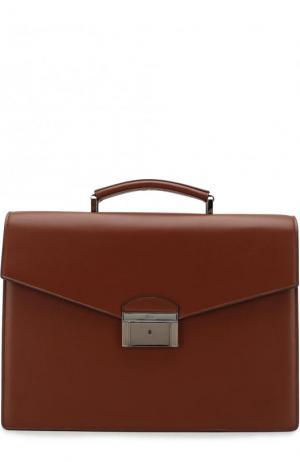 Кожаный портфель с клапаном Brioni. Цвет: коричневый