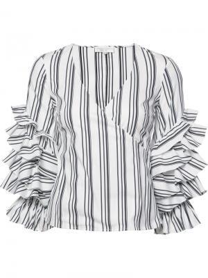 Полосатая блузка с рюшами на рукавами Caroline Constas. Цвет: белый