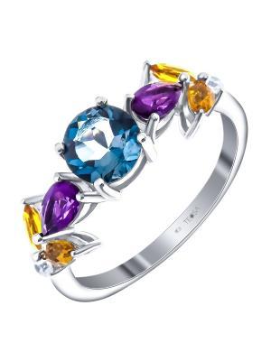 Кольцо Teosa. Цвет: синий,лиловый,желтый