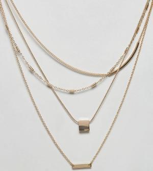 ASOS Curve Ярусное ожерелье с цепочками. Цвет: золотой