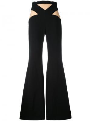 Расклешенные брюки с двухцветной отделкой Balmain. Цвет: чёрный