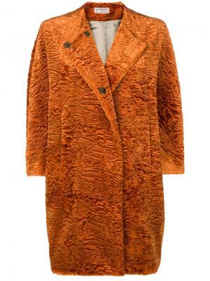 Пальто-кокон с искусственным мехом Alberto Biani. Цвет: жёлтый и оранжевый