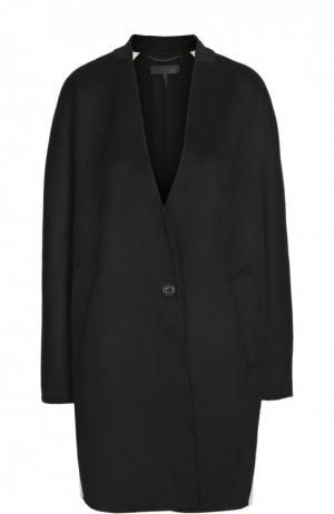 Шерстяное пальто свободного кроя с контрастной отделкой Rag&Bone. Цвет: черный