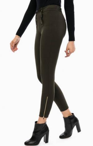 Трикотажные брюки цвета хаки на пуговицах Kocca. Цвет: хаки
