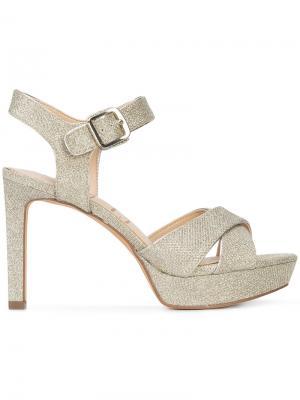 Босоножки на каблуке с блестками Sam Edelman. Цвет: металлический