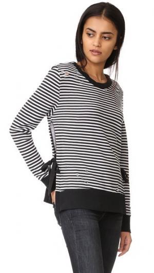 Толстовка в полоску с разрезами по бокам Pam & Gela. Цвет: винтажный черный/белый