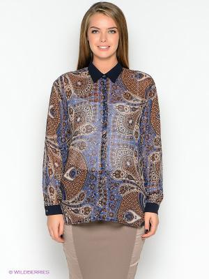 Блузка TOPSANDTOPS. Цвет: синий, коричневый