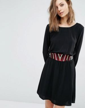 BA&SH Платье со съемным поясом Elton. Цвет: черный