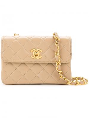 Micro mini chain bag Chanel Vintage. Цвет: коричневый