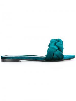 Плетеные открытые сандалии Marco De Vincenzo. Цвет: зелёный