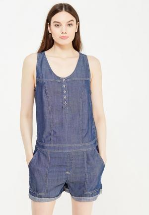 Комбинезон джинсовый oodji. Цвет: синий