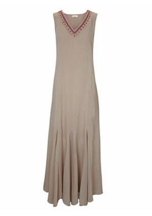 Платье макси LINEA TESINI by Heine. Цвет: хаки