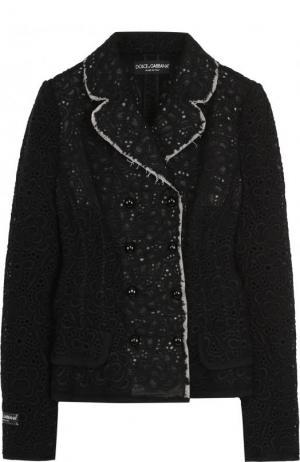 Двубортный кружевной жакет с контрастной отделкой Dolce & Gabbana. Цвет: черный