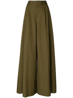 Классические брюки палаццо Alice+Olivia. Цвет: зелёный