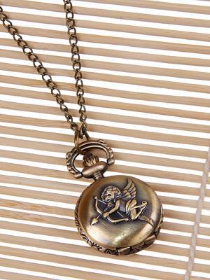Кулон-часы Медальон с ангелом Mitya Veselkov. Цвет: бронзовый