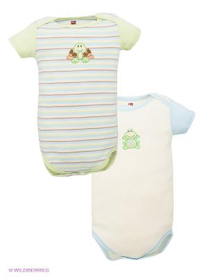 Боди для детей Hudson Baby. Цвет: голубой, кремовый, зеленый