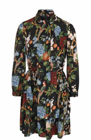 Приталенное мини-платье с принтом и воротником аскот Alice + Olivia. Цвет: разноцветный