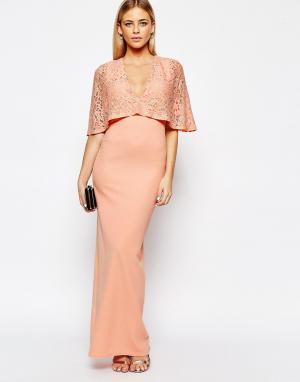 Club L Платье макси с рукавами-кимоно и кружевной отделкой. Цвет: розовый