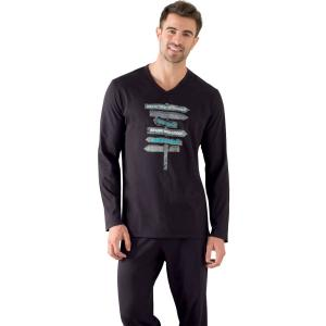 Пижама длинная с длинными рукавами, футболка рисунком ATHENA. Цвет: синий/темно-синий,черный/ черный