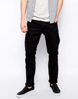 Weekday Черные джинсы слим. Цвет: черный