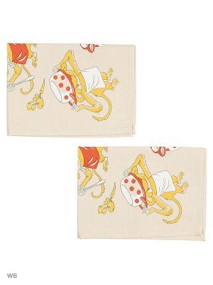 Полотенца Поварята, 2 шт., с петелькой GrandStyle. Цвет: серый, золотистый, оранжевый