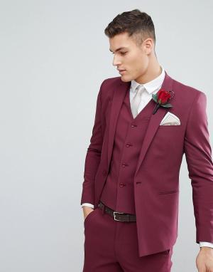 ASOS Пиджак узкого кроя с прямым низом винного цвета Wedding. Цвет: красный