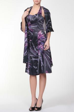 Изысканное платье с накидкой Just Cavalli. Цвет: синий, принт кавалли