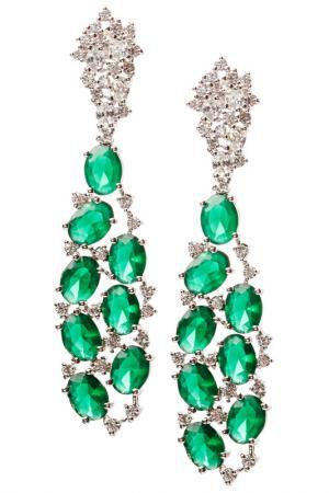 Серьги Beatrici Lux. Цвет: зеленый