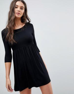 Lasula Свободное платье-футболка. Цвет: черный