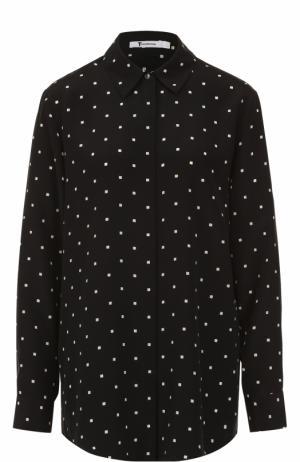 Шелковая блуза свободного кроя T by Alexander Wang. Цвет: черно-белый