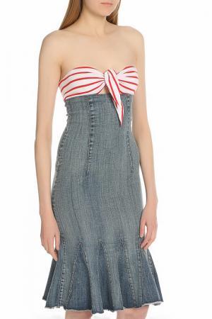 Платье Frankie Morello. Цвет: джинсовый, синий