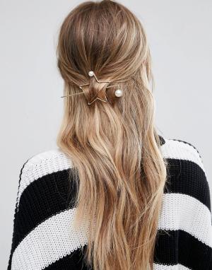 Glamorous Заколка для волос с контурной звездой. Цвет: золотой