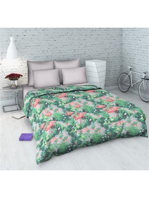 Комплект постельного белья из бязи 1,5 спальный Василиса. Цвет: зеленый, розовый
