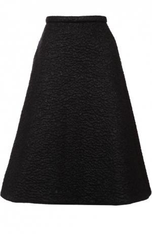 Юбка-миди А-силуэта с фактурной отделкой Rochas. Цвет: черный