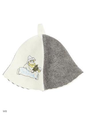 Шапка для бани с вышивкой в косметичке  Банька Метиз. Цвет: белый, серый, голубой