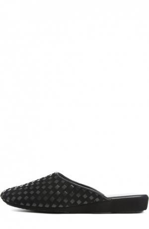 Плетеные домашние туфли на танкетке Homers At Home. Цвет: черный
