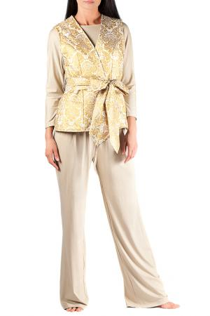 Комплект: брюки, топ и жилет MONNA MURR. Цвет: бежево-золотой