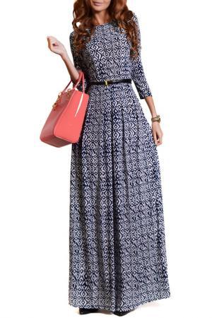 Платье FRANCESCA LUCINI. Цвет: темно-синий, ромбы