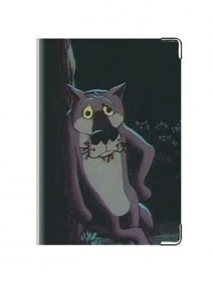 Обложка для паспорта кожа Волк Tina Bolotina. Цвет: серо-коричневый, светло-серый