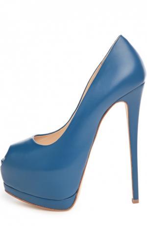 Кожаные туфли Sharon Giuseppe Zanotti Design. Цвет: синий