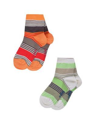 Носки детские,комплект 2шт Malerba. Цвет: салатовый, оранжевый